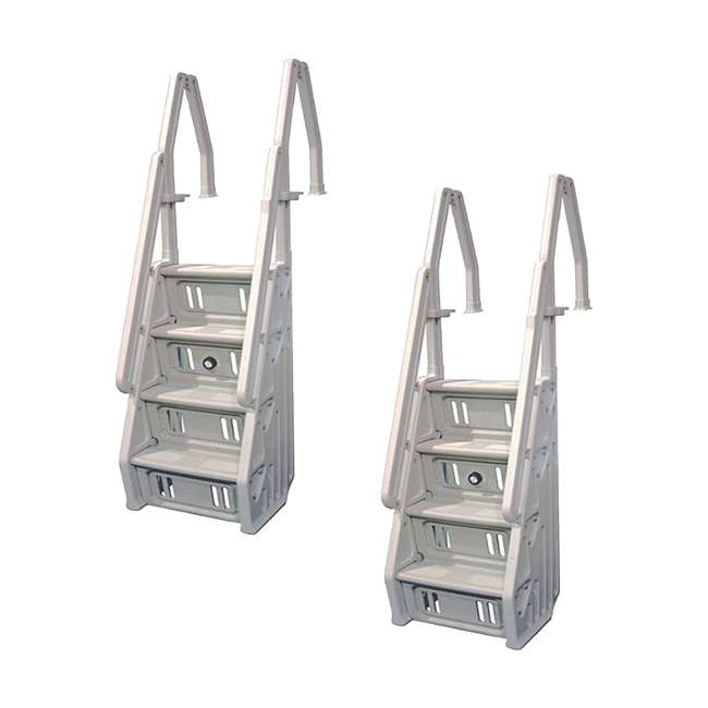 "IN32-T Vinyl Works 32"" In-Step Ladder for Pools 46-60 Inches Tall, Tan (2 Pack)"