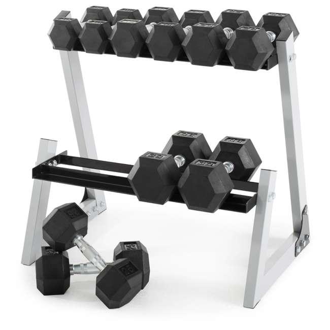 WDBKR20016 Weider 200 Pound Rubber Hex Dumbbell Weight Set with Weight Rack 1