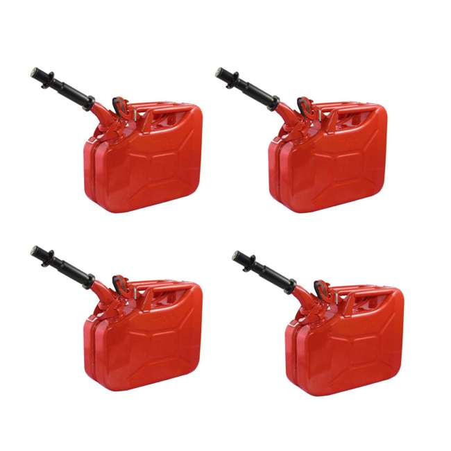 4 x 3013-WAV Wavian 2.6 Gallon Gasoline Fuel Jerry Can, Red (4 Pack)