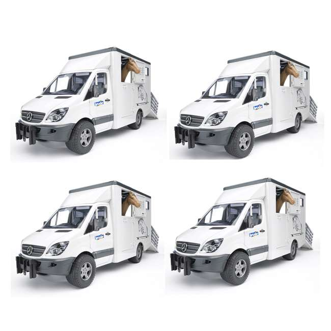 4 x 02533-BR Bruder Toys Mercedes Benz Sprinter Animal Transporter (4 Pack)