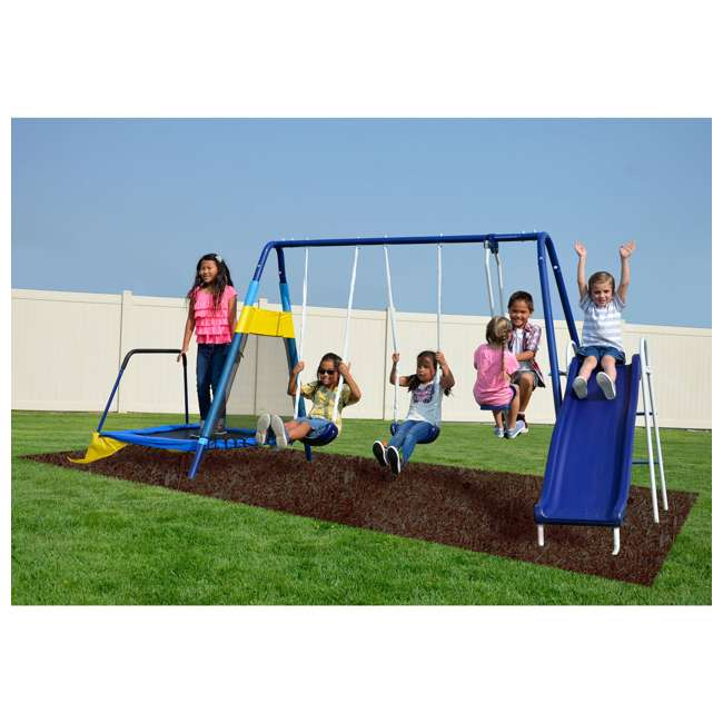 MSC-3242-BM Almansor Metal Outdoor Swing Set with Trampoline 2