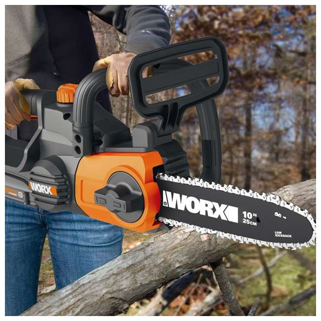 """WG323-U-C Worx 20V 10"""" Auto Tension Electric Pole Chainsaw, Battery & Charger (For Parts) 7"""