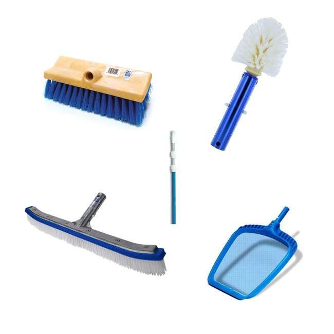 B3518 + B3525 + B3012 + 8358M + 8039 Blue Devil 18 Inch Brush, 360 Brush, Deck N Acid Brush, HydroTools Pole and Net