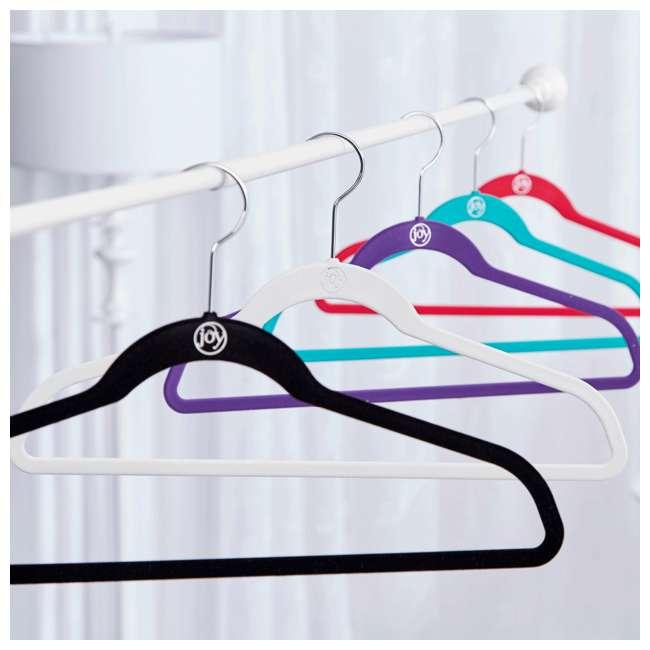 JHR011000 JOY Huggable Hangers Velvety Shirt and Suit Hangers 24 pack, Chrome, White 2