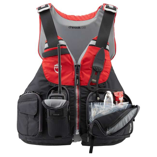 40071.01.103 NRS Chinook OS Type III Fishing Life Vest PFD with Pockets, Large/X Large, Red 3