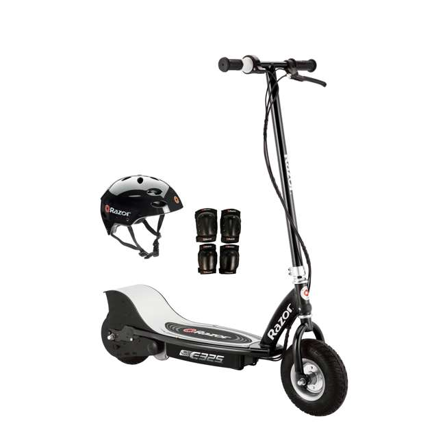 13116397 + 97778 + 96785 Razor E325 Electric 24V Motorized Scooter (Black) with Helmet, Elbow and Knee Pads