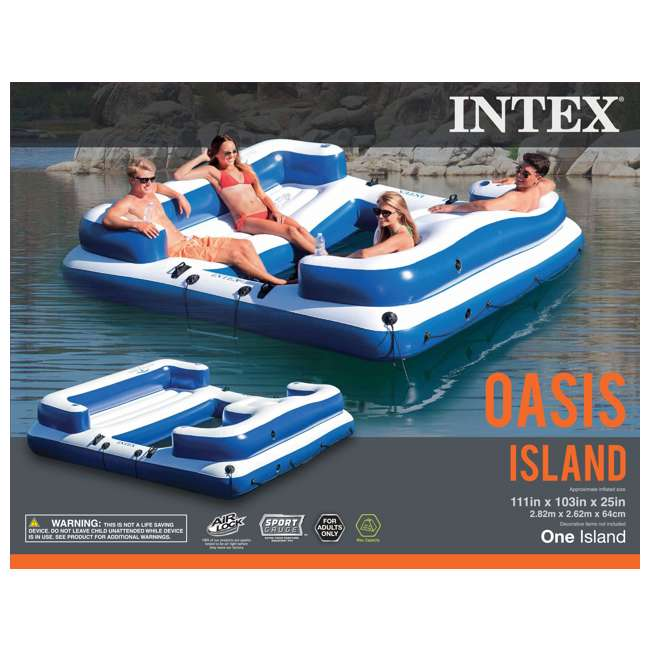 3 x 58293EP-U-A Intex Oasis Island Inflatable 5 Person Floating Lounge Raft (Open Box) (3 Pack) 5