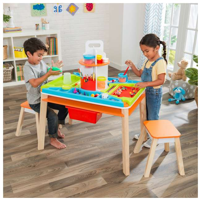 10091 Kidcraft 10091 Ultimate Creation Station Kids Activity Art Table with Two Stools 2