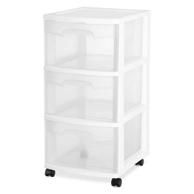 28308002-U-A Sterilite Home 3-Drawer Storage Cart Portable Container with Casters | 28308002 (Open Box) (2 Pack) 1