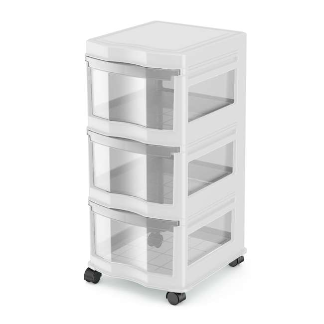 DRW3-M-WH-U-A Life Story 3 Shelf Storage Container Plastic Drawers, White (Open Box) (2 Pack)