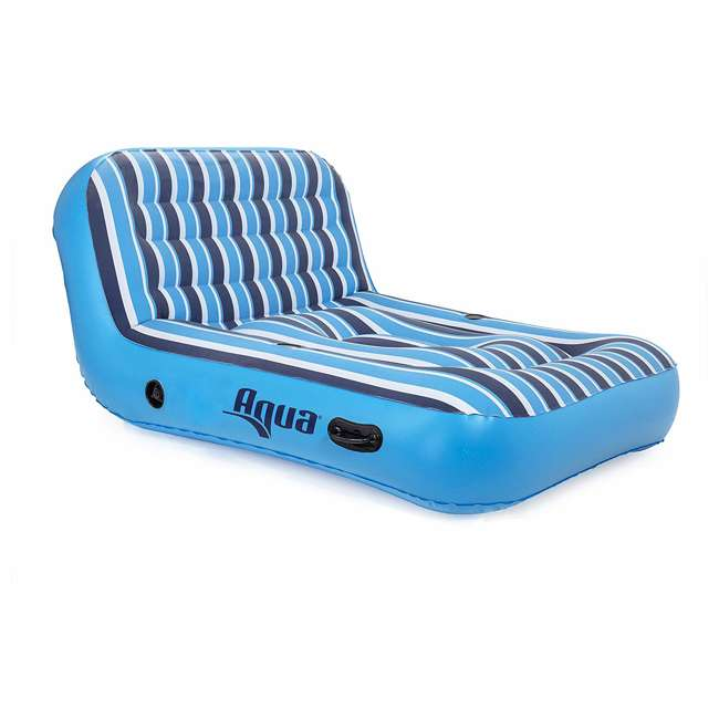 AZL17011 Aqua Heavy Duty Ultra Comfort Inflatable 2-Person Pool Float Recliner Lounger