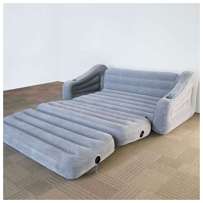 Marvelous Intex 68566Vm Inflatable 2 In 1 Pull Out Sofa Couch And Air Mattress Futon Gray Beatyapartments Chair Design Images Beatyapartmentscom