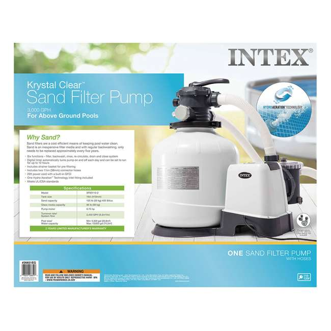 26651EG + 28001E Intex Pool Sand Filter Pump and Automatic Pool Vacuum 6