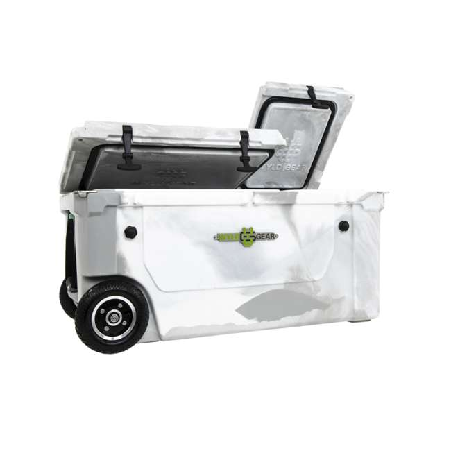 HC75-17W WYLD 75 Quart Pioneer Dual Compartment Insulated Cooler w/ Wheels, White/Grey