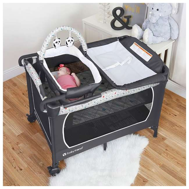 PY81A81I Baby Trend Lil Snooze Deluxe Nursery Center with Changing Table, Diamond Geo 5