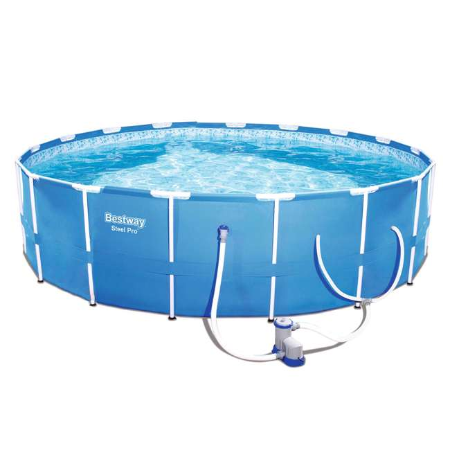 56417E-BW + QLC-42001 Bestway 12' x 12' Above Ground Pool w/ Pump + Qualco Pool Chemical Cleaning Kit 1