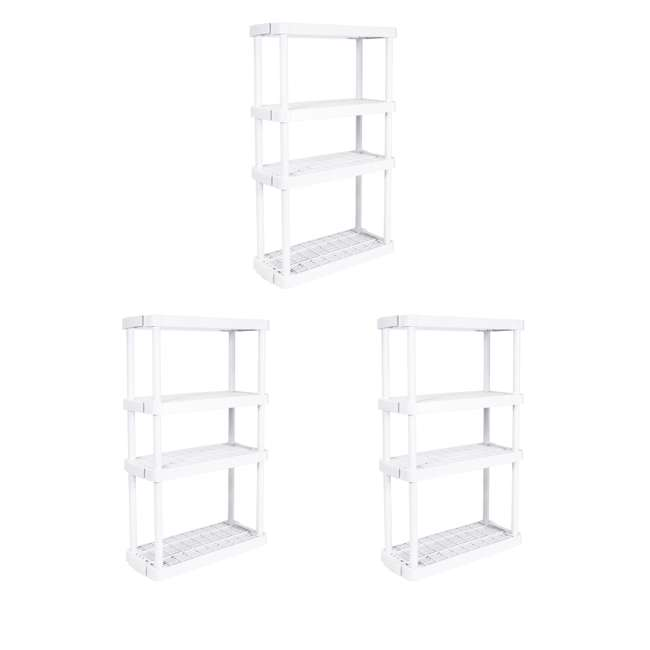 3 x GL91072MAXIT-1C Gracious Living 4-Tier Garage Storage Shelf, White (3 Pack)