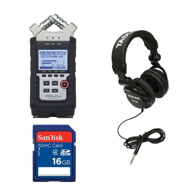 ZH4NPRO + TH02-B + SD4-16GB-SAN Zoom H4n Pro Digital Multitrack Recorder + TASCAM Headphones + Memory Card