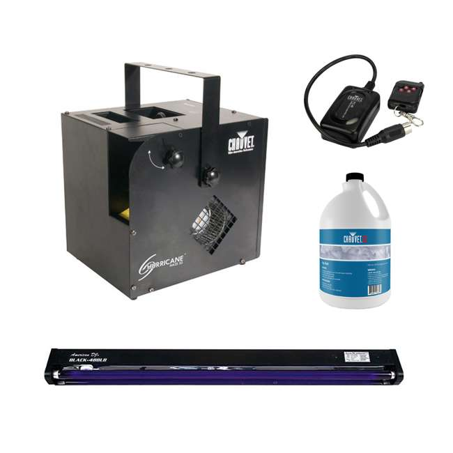 HURRICANE-HAZE2D + BLACK-48BLB + FJU + FC-W Chauvet Hurricane Haze 2D Fog Machine, Black Light, Fog Juice, & Wireless Remote