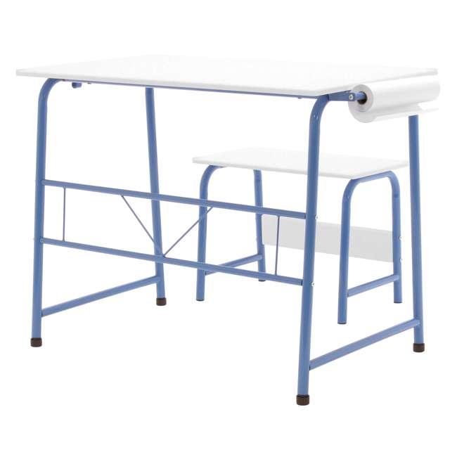 38022 Studio Designs Homeroom 2 Piece Art Table & Bench Set w/ Paper Roll, Blue/White 2