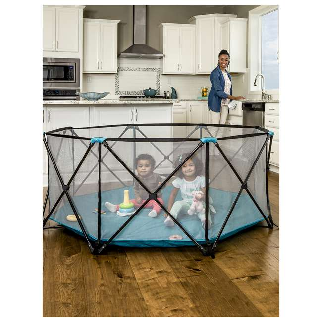 """1385 DS Regalo 8 Panel 62"""" x 26"""" My Play Deluxe Portable Mesh Foldable Play Yard (Used) 3"""