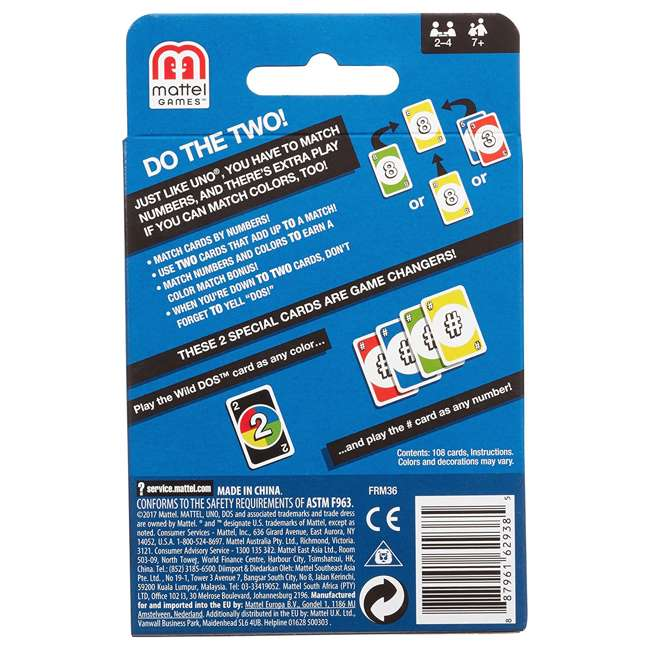 FRM36 Mattel UNO DOS Kids Multiplayer Card Game (2 Pack) 4