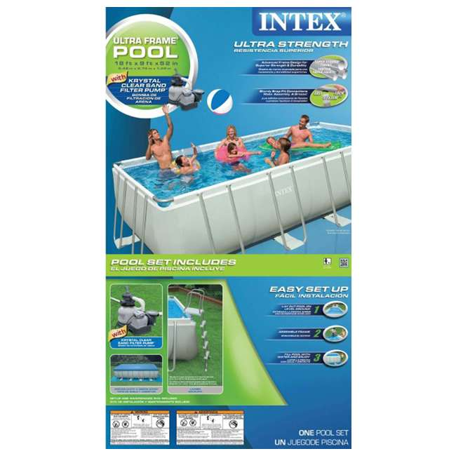 Intex 18 39 x 9 39 x 52 ultra frame rectangular swimming pool for Intex pool handler