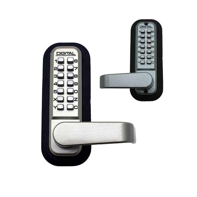 2835MGDC Lockey USA Mechanical Keyless Double Combination Keypad Door Lever Lock, Silver