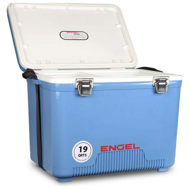 4 x UC19B Engel 19-Quart Dry Box Cooler with Shoulder Strap, Arctic Blue (4 Pack) 5