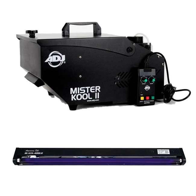 MISTER-KOOL-II-BLACK + BLACK-48BLB American DJ Mister Kool II Smoke Fog Machine w/ 48 Inch Black Pro Black Light