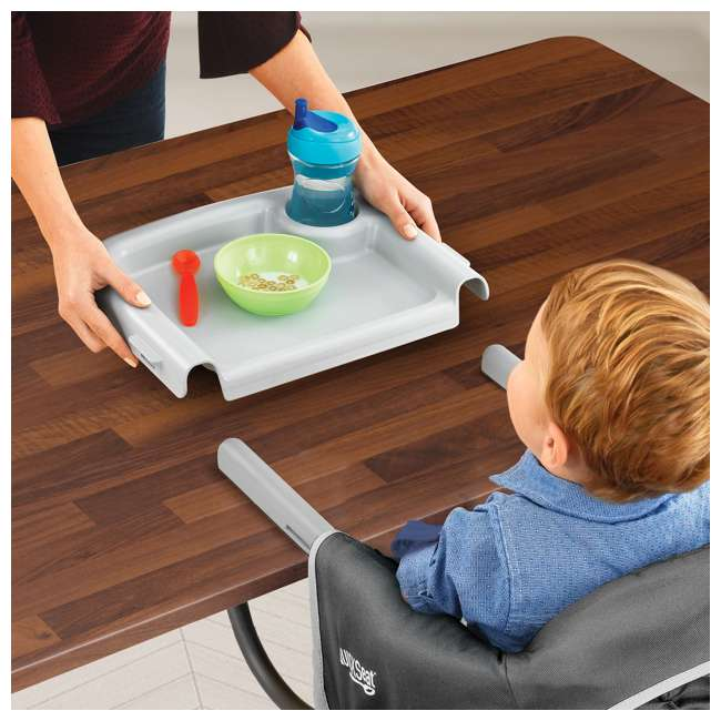 CHI-0607966621 Chicco QuickSeat Portable Folding Baby Hook On Table High Chair & Tray, Graphite 3