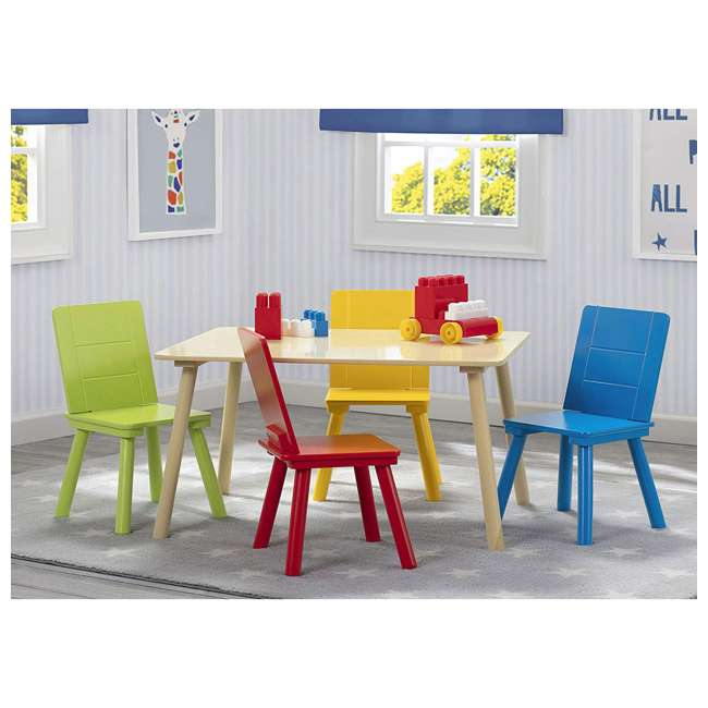 TT87452GN-1189 Delta Children Kids Wooden Play Activity Table & Chair Set, Natural & Primary 4