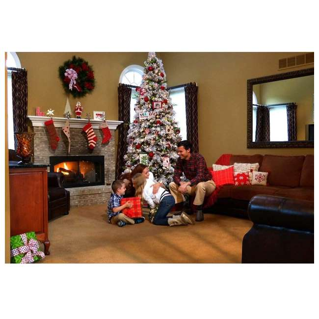 TG76M4E42S20 Home Heritage Snowdrift Spruce 7.5 Foot Flocked Christmas Tree with White Lights 3