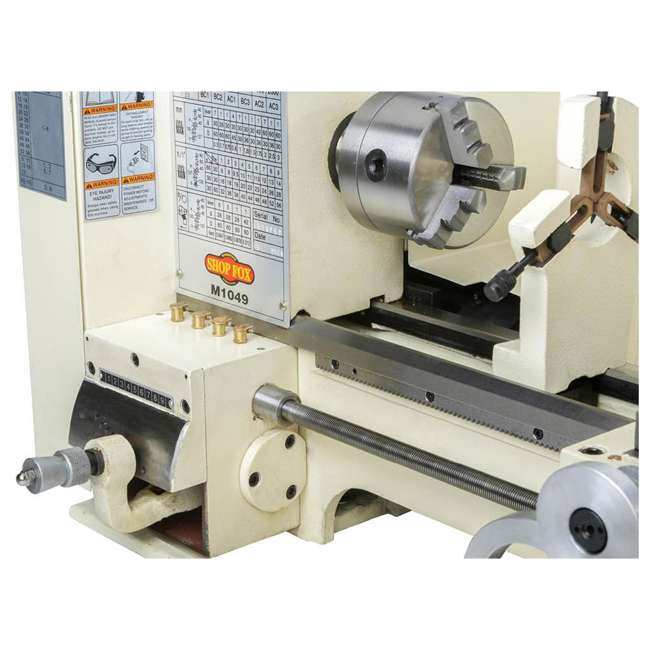 M1049 Shop Fox M1049 9 by 19 Inch Bench Top Metal Lathe with Three Jaw Scroll Chuck 5