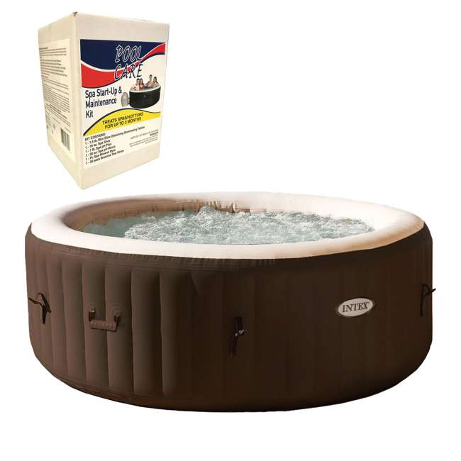 28403VM + QLC-14890 Intex PureSpa Inflatable Spa, Brown & 3 Month Chemical Kit