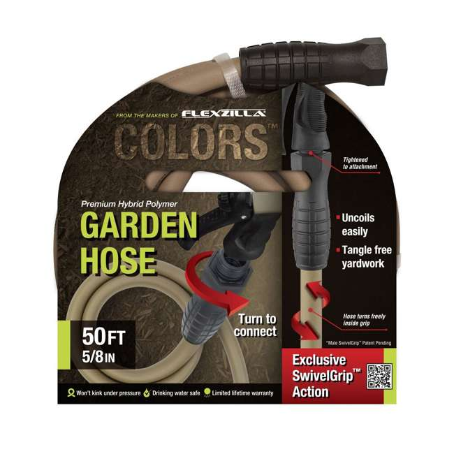 3 x LEG-HFZC550BRS Flezilla Colors 50-Foot Garden Hose with SwivelGrip, Brown Mulch (3 Pack) 2