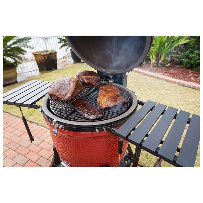 BJ24RHCI-A Kamado Joe BJ24NRHCI Big Joe III 24 In. Portable BBQ Ceramic Charcoal Grill, Red 5