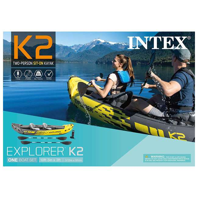 3 x 68307EP Intex Explorer K2 2 Person Inflatable Kayak Set and Air Pump, Yellow (3 Pack) 10
