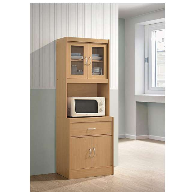 HIK96 BEECH Hodedah Freestanding Kitchen Storage Cabinet w/ Open Space for Microwave, Beech 1