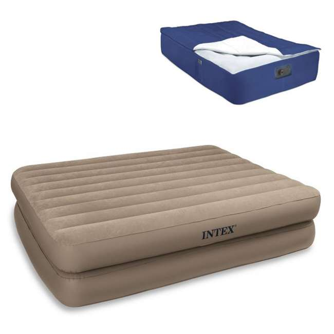 66709E + 5200029 INTEX Queen Raised Airbed with Pump & Blanket Cover