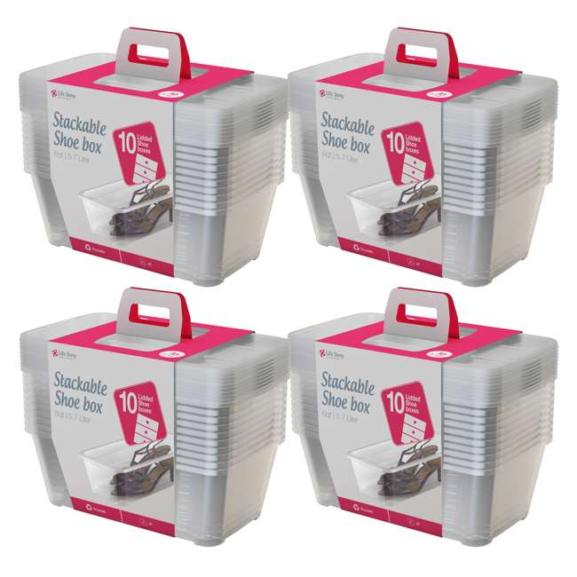 4 x SHB-10 Life Story 5.7-Liter Clear Shoe & Closet Storage Box Container (40 Pack)