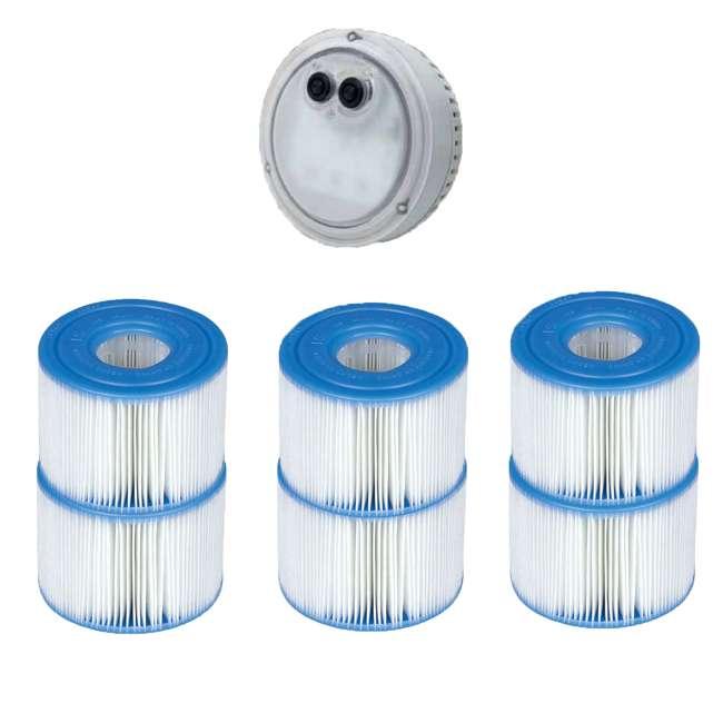 28503E + 3 x 29001E Intex PureSpa LED Spa Light + Type S1 Pool Filter Replacement Cartridge (6 Pack)