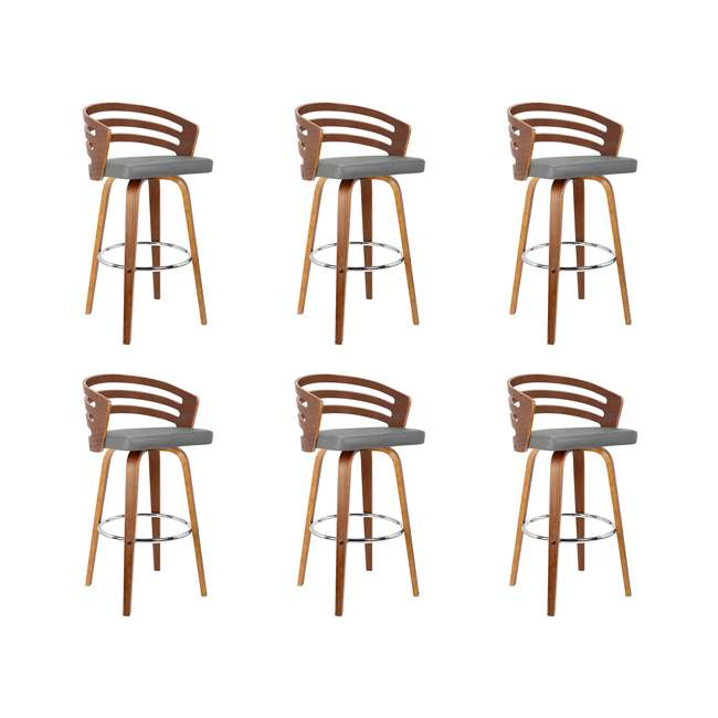 6 x LCJYBAGRWA26 Armen Living Jayden 26 Inch Mid Century Swivel Barstool Chair, Gray (6 Pack)