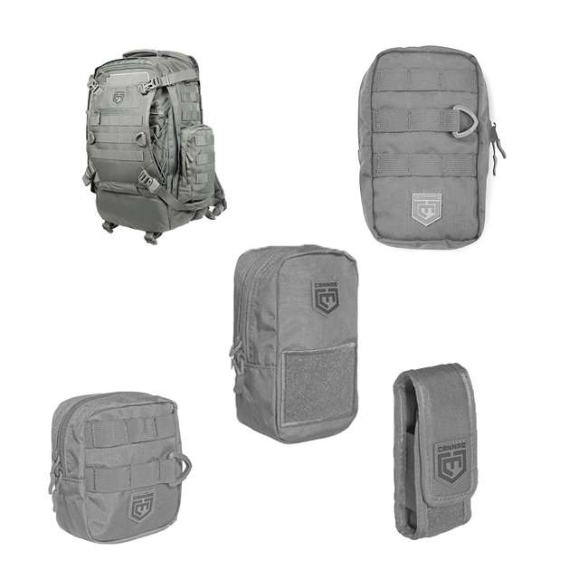 CPG-BP-PHAL-L-DG+CPGPCEDCPDG+CPGPCALMMDG+CPGPCTRI6 Cannae Pro Gear Phalanx Tactical Full Size Pack with Helmet Carry w/ Accessories