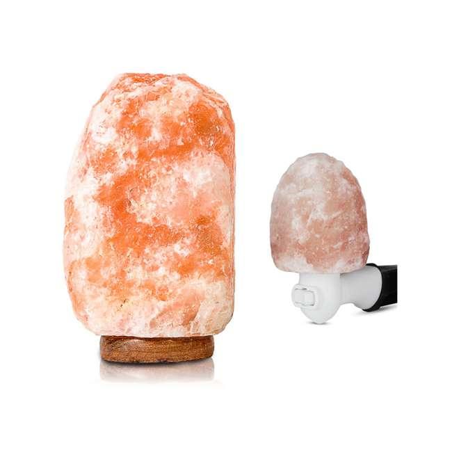 WNSL-100 + NL-100 Salacia Heart of the Himalayan Dimmable Electric Salt Lamp and Night Light, Pink