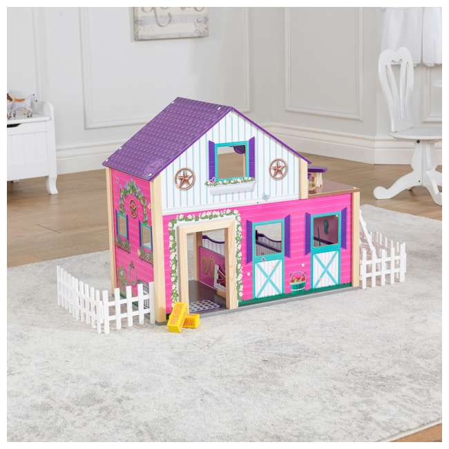 63602 KidKraft Kids Deluxe Toy Horse Stable Wooden Barn Doll House Play Set with Fence 3