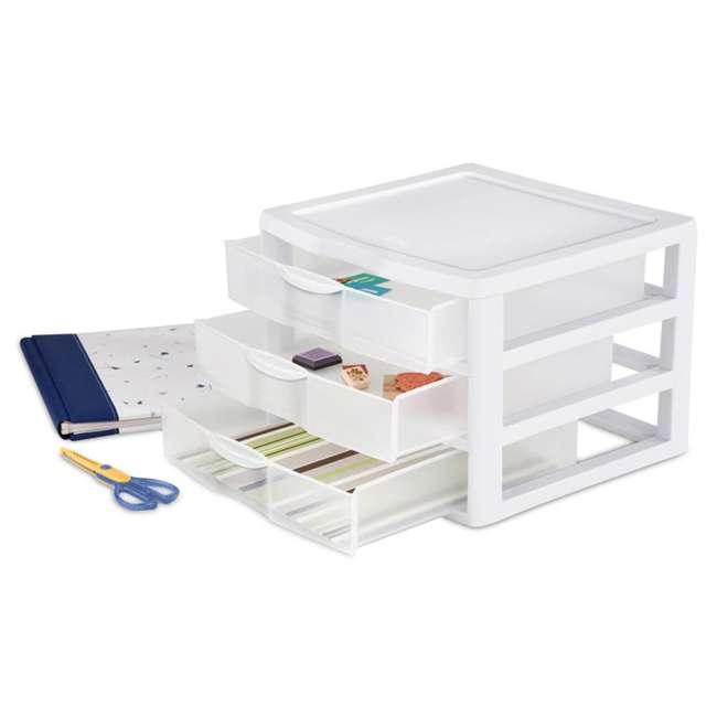 6 x 20938003 Sterilite Wide 3 Drawer Desktop Storage Unit (6 Pack) 3