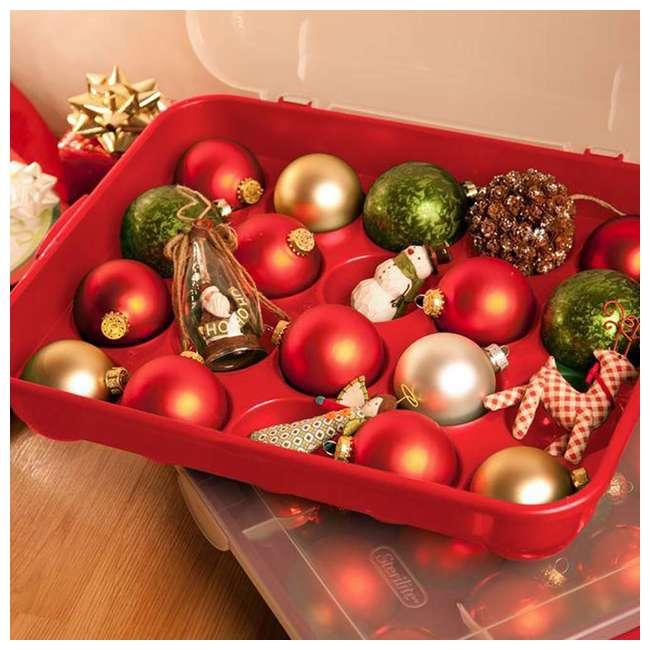 "18 x 19766606-U-A Sterilite 20 Compartment 3"" Ornament Storage Case w/ Lid Red (Open Box)(18 Pack) 3"