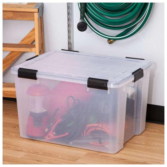 585855-4PK IRIS USA Weathertight 74 Quart Buckle Down Storage Box Container, Clear (4 Pack) 3