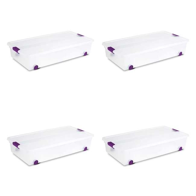 4 x 17611704-U-A Sterilite 60 Quart ClearView Latch Lid Wheeled Underbed Box (Open Box) (4 Pack)